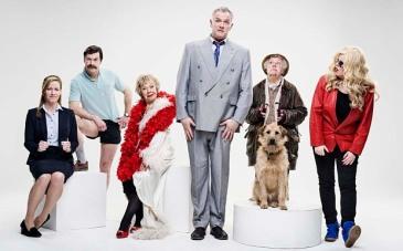 l-r:   Miss Lipsey (Jeany Spark), Brian (Mike Wozniak), Mum (Gwyneth Powell), Dan (Greg Davies), Nesta (Stephanie Cole), Jo (Roisin Conaty)